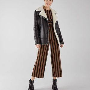 Bershka Women's Crop Jumpsuit Striped Brown Belted